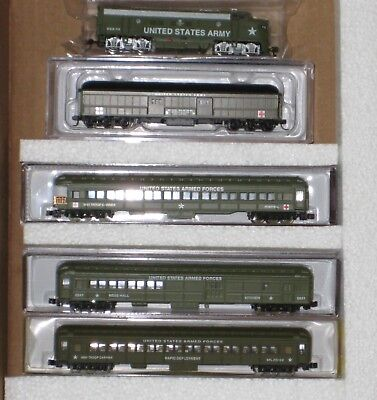 N Scale Us Army Train Set F7A & 4 Army Cars #nma100