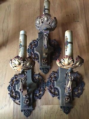 3 Vintage Cast Iron Ornate Victorian Sconce Wall Light Fixtures- Red Blue Gold
