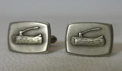 Vintage Usa Boy Scouts Woodbadge Wood Badge Axe Ax Log Cuff Links