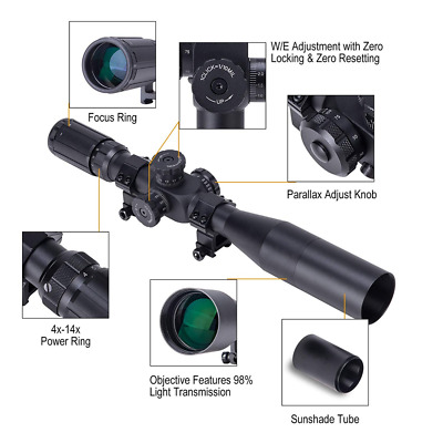 4-14x44 First Focal Plane (FFP) Rifle Scope Tactical Optics Mil-Dot Reticle