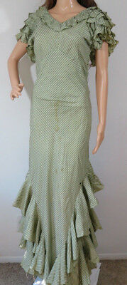Antique true VTG 1930s ruffle long dress flapper gown for pattern or rpr XS