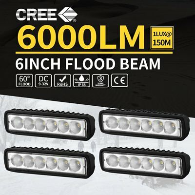 4x 6inch 30W LED Work Driving Light Bar Cree Flood beam Lamp Reverse Offroad 4x4