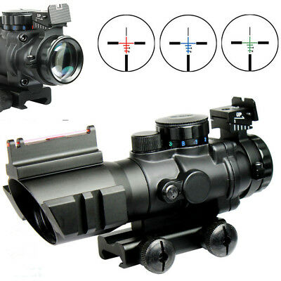 US Tri-illuminated 4X32 RGB Prismatic BDC Recticle Rifle Scope Fiber Optic Sight