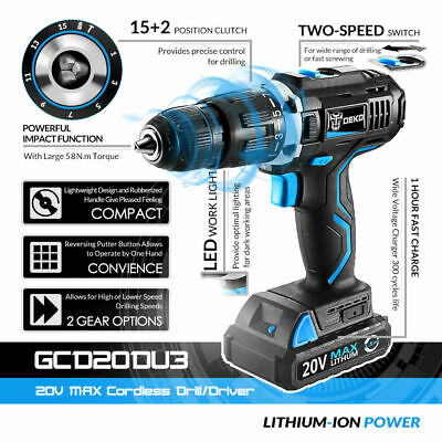 """DEKO 3/8"""" 10.8V Lithium-Ion Battery Cordless 2-Speed Drill Electric 18+1 Driver"""