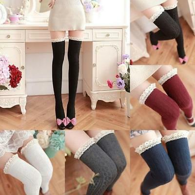 UK Women Lace Trim Thigh High OVER the KNEE Socks Long Cotton Warm Stockings