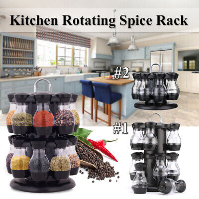 8/16 Jar Rotating Spice Rack Carousel Kitchen Storage Holder Condiment Container