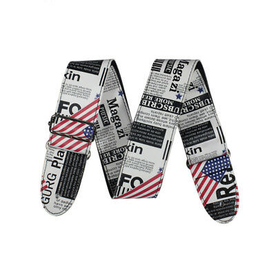 Adjustable Guitar Strap Leather PU USA American Flag Style Acoustic Guitar Bass