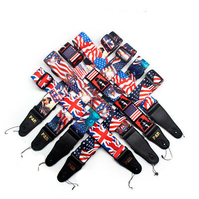 Soft Polyester Acoustic Electric Guitar Strap Adjustable Strap USA Flag Pattern