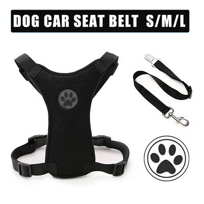 Breathable Air Mesh Puppy Dog Car Harness + Seat belt Clip Lead For Dogs HY
