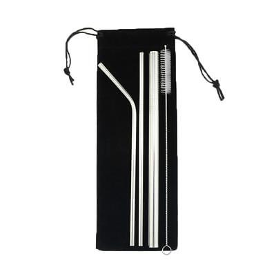 3x Stainless Steel Metal Drinking Straw Straws Bent Reusable Washable+Brush+ Bag