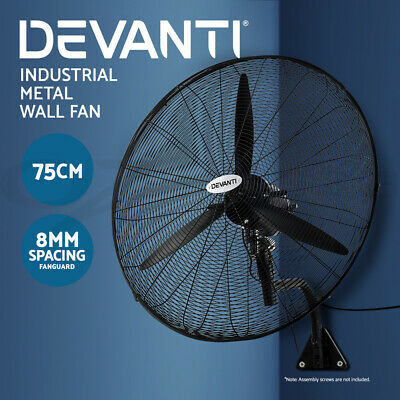 Devanti 750mm Wall Mounted Industrial Fans Metal High Velocity Oscillating 75cm