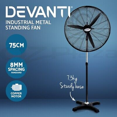 Devanti 75cm Industrial Fans 3 Speed Metal Pedestal High Velocity Floor Fan Cool