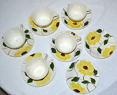 12 Pc. Vintage Blue Ridge Mountain Glory Nocturne Yellow 7 Saucers Plate, 5 Cups