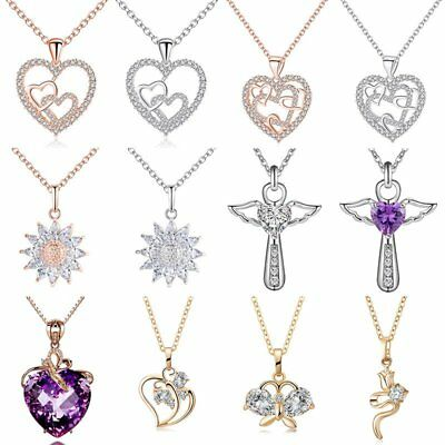 Fashion Women Wing Cross Heart Flower Pendant Necklace Crystal Charm Jewelry NEW
