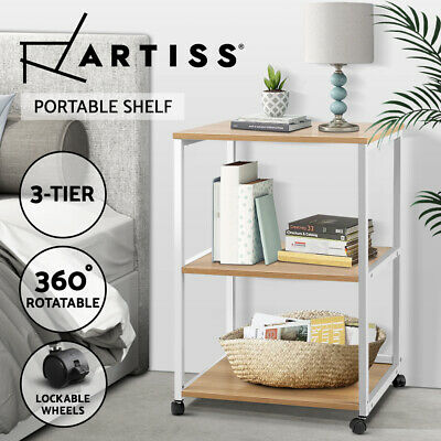Portable Mobile Printer Stand 3-Tier Storage Shelf Rack Wooden Office Trolley