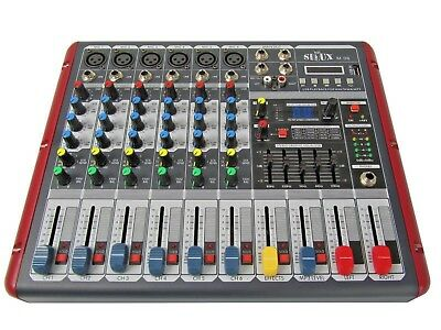 DJ PA 6 Kanal Mixer Mischpult Verstärker Party Mobil Stereo USB MP3 Player Sioux