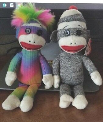 2 TY Beanie Babies Rainbow & Gray Sock Monkey Plush  Cute EXC