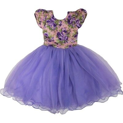Wenchoice Little Girls Purple Floral Top Fluffy Flower Girl Dress L (4-6) 7b825df2e