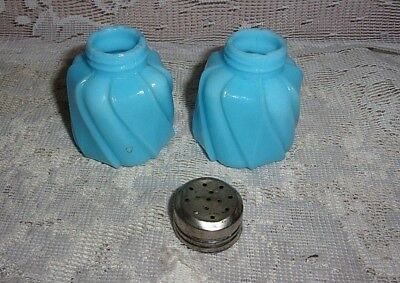 Victorian Twisted Robins Egg Blue Milk Glass Salt & Pepper Shakers