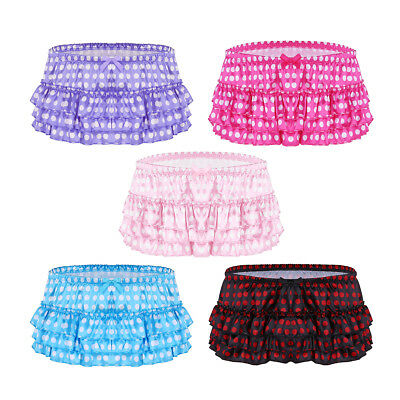 Sexy Men Satin Polka Dots Ruffles Skirted Panties Briefs Underwear Bloomer Thong