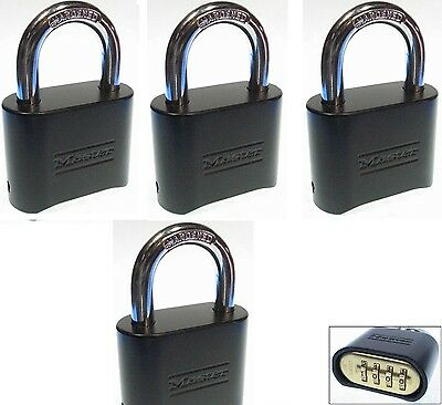 Combination Lock Set by Master 178BLK (Lot of 4) Resettable Brass Insert Black
