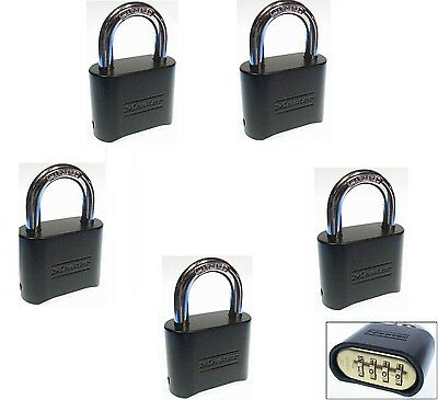 Combination Lock Set by Master 178BLK (Lot of 5) Resettable Brass Insert Black