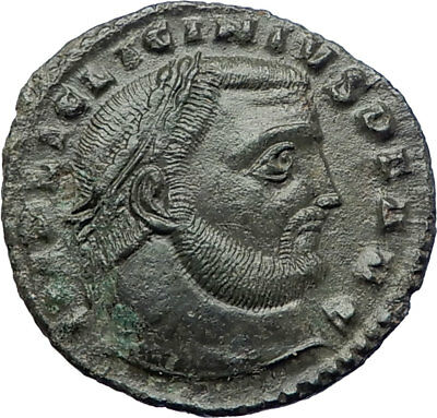LICINIUS I 312AD Authentic  Ancient Roman Coin JUPITER Eagle Victory i73207