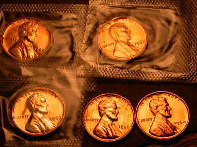 Lot of Five 1960 Proof  Small Date Lincoln Cents