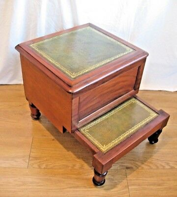 Attractive old antique Victorian Mahogany & Leather Commode Bed / Library Steps