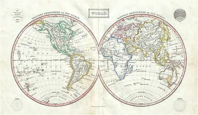 1845 Ewing Map of the World in Hemispheres