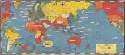 1944 Turner World Map During World War II