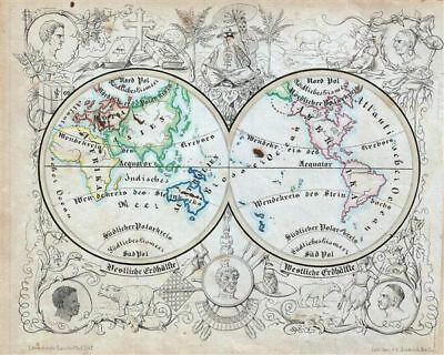 1846 Lowenberg Whimsical Map of both hemispheres