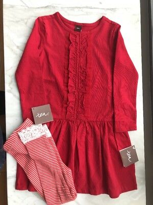 Tea collection Girls Red Ruffle Cotton Dress + Striped Leggings - 3-4T NEW