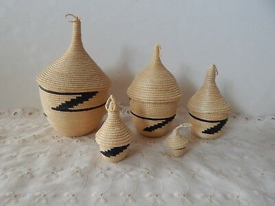Set of Five  (5)  Hand Coiled, African Tutsi Nesting Baskets Containers