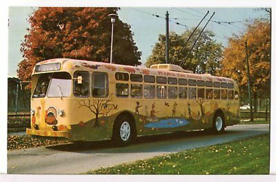 """A Bus for All Seasons"" Dayton OH Trolley Bus No. 559 'Fall' Bus 1970s Postcard"