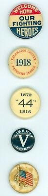 5 Vintage 1917-18 WWI Homefront Social Cause Pinback Buttons-Liberty Loan