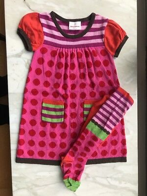 Hanna Andersson Girls Pink Red Dot Purple Stripe Sweater Dress +tights 3/4T 100