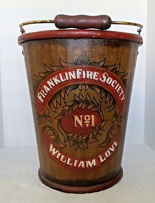 VTG Franklin Fire Society Large Wooden Bucket, William Love, No.1 Firefighting