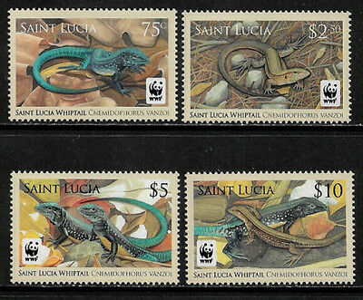 St. Lucia #1251-4 Mint Never Hinged Set - WWF - Saint Lucia Whiptail