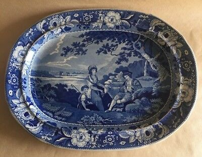Early 19th C Staffordshire Pearlware Blue Transfer Platter Pastoral Scene