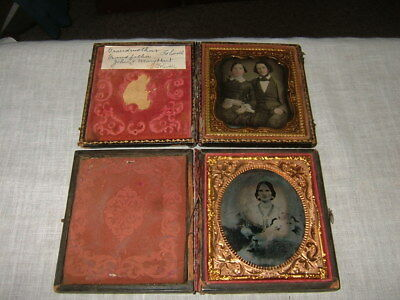 2 Antique Collectible Daguerreotype Photographic Images, Man Woman, Woman & Baby