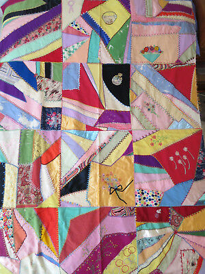 Vtg antique crazy quilt top patchwork embroidered silk satin fabrics pastel