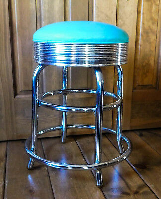 Vintage Mid Century Modern Swivel Stool Chrome Heavy Duty Turquoise Daystrom