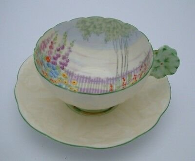 Fine Royal Paragon Hand Painted Floral Cup & Saucer With Flower Handle - Perfect