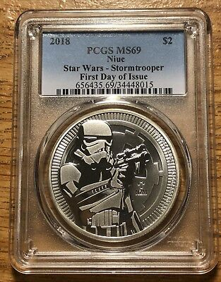 2018 $2 Niue Star Wars Stormtrooper 1oz .999 Silver Coin PCGS MS69 First Day