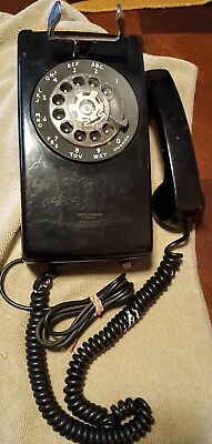 Vintage Bell System Western Electric Black Wall Mount Rotary Phone A/B 554 6-70