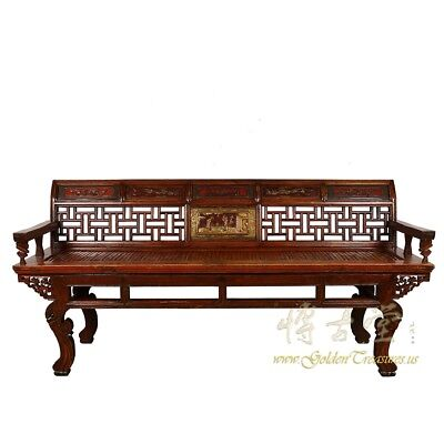 Antique Chinese Carved Long Bench, Settee