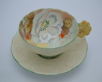 Royal Paragon Hand Painted Floral Cup & Saucer With Flower Handle #2 - Perfect