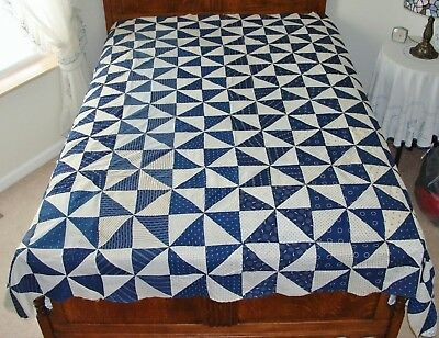 "Antique Vintage Pinwheel Indigo Calico Fabric Vintage Cotton Quilt Top 85"" x 75"""
