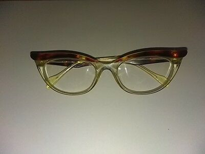 Ladies 1950s-Style Cats Eye Tort Clear Frame Reading Spectacles Adult Glasses